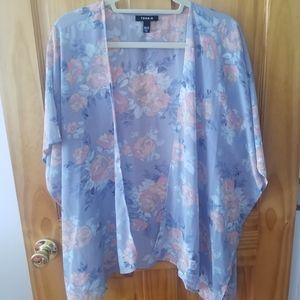 Torrid Floral Sheer Kimono Style Size M/L